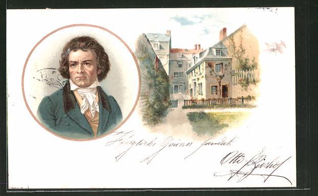 Lithographie Porträt Beethoven und Strassenblick