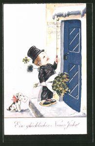 Künstler-AK John Wills: Schornsteinfeger mit Blumenstrauss klingelt an der Tür