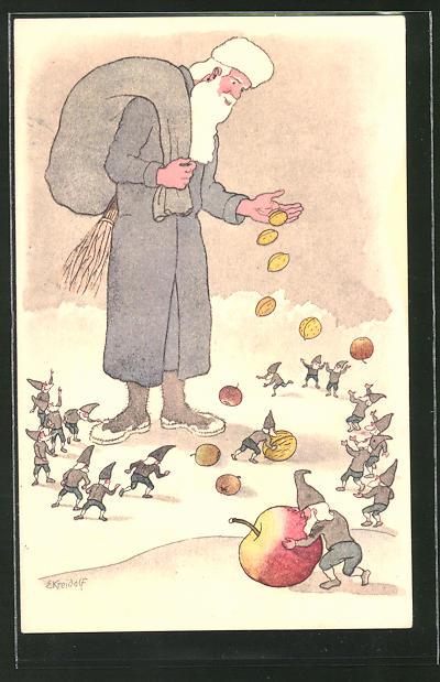 Künstler-AK Ernst Kreidolf: St. Nicolas, Nikolaus wirft den Zwergen Nüsse und Äpfel zu
