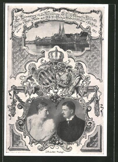 AK Vermählungskarte d. Prinzessin Elisabeth Helene von Thurn & Taxis & Prinz Friedrich Christian von Sachsen