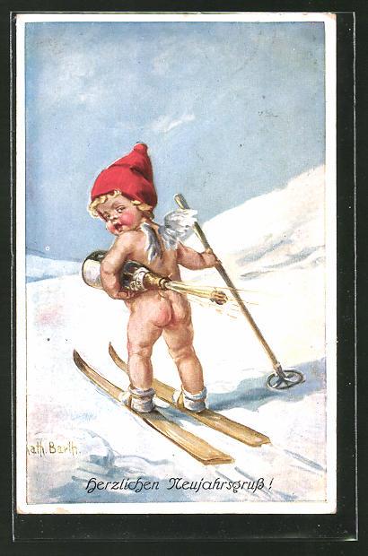 Künstler-AK K. Barth: Kleiner nackter Neujahrsengel auf Ski mit Sektflasche