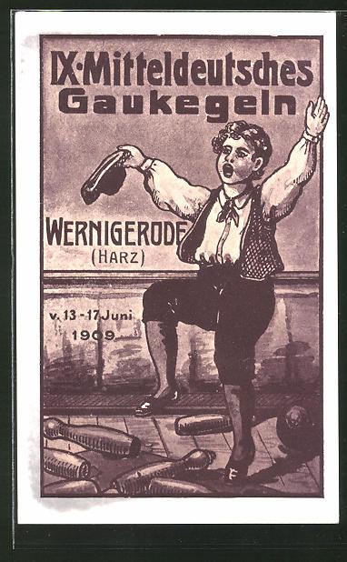 AK Wernigerode, IX. Mitteldeutsches Gaukegeln 1909, Jubel auf der Kegelbahn