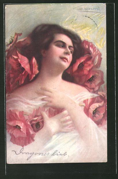 Künstler-AK G. Guerzoni: Schöne Frau in einem Bett aus Mohn