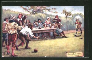 Künstler-AK OId English Sports: Bowls, historisches Boules-Spiel