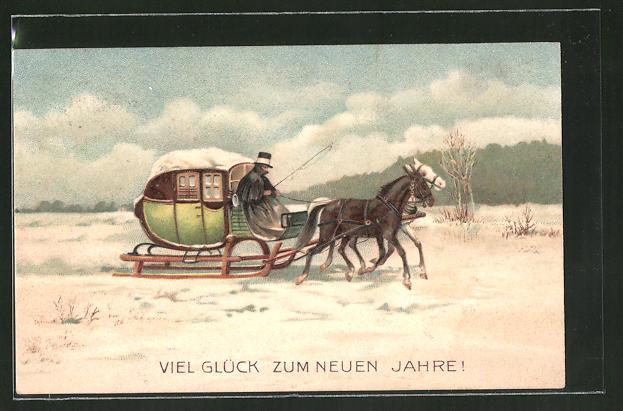 Präge-Lithographie Pferdeschlitten in der Winterlandschaft