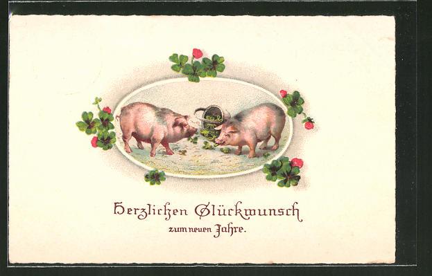 AK Schweine fressen Kleeblätter aus dem umgefallenen Korb