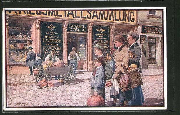 Künstler-AK Richard Moser, Rotes Kreuz Nr. 574: Stilles Heldentum, Menschen spenden an der Sammelstelle