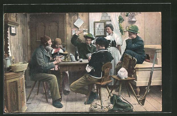 AK Männer am Tisch bei einem Kartenspiel