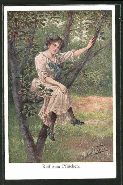 Künstler-AK Bill Fisher: Reif zum Pflücken, Frau sitzt auf einem Baum