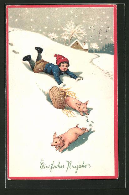 Präge-AK Schweine fliehen aus einem Korb, Ein frohes Neujahr