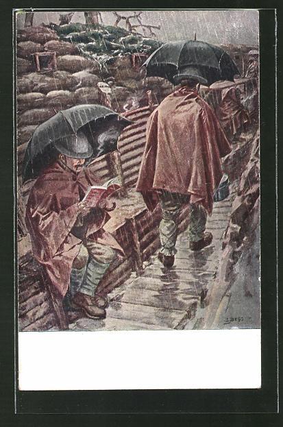 AK britische Soldaten bei Regenwetter in ihrem Schützengraben