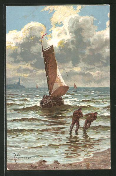 Künstler-AK Robert Kämmerer: Fischer ziehen ihr Boot an Land
