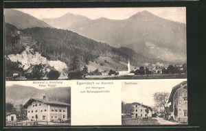 AK Egerndach b. Staudach, Bäckerei & Handlung Kasp. Naggl., Gasthaus, Ortsansicht mit Hochgern & Schnappenkirche