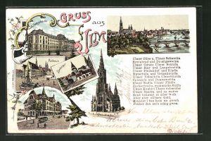 Lithographie Ulm, Justizgebäude, Zundelthor, Saalbau