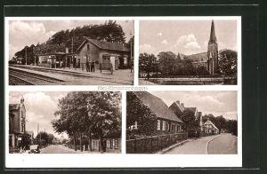 AK Kiel-Elmschenhagen, Bahnhof von der Gleisseite, Kirche, Strassenpartie