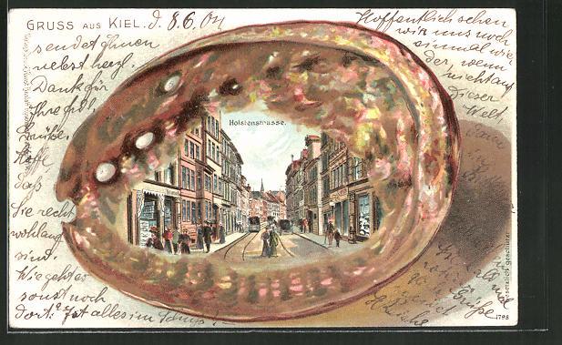 Passepartout-Lithographie Kiel, Blick in die Holstenstrasse, Ansicht auf Muschel