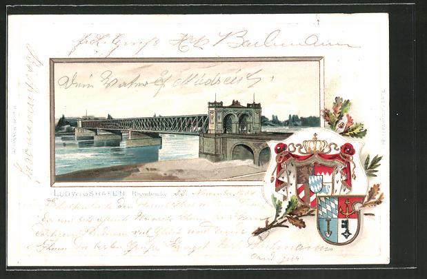 Passepartout-Lithographie Ludwigshafen, Ansicht der Rheinbrücke, Wappen