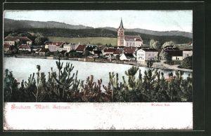 AK Buckow / Märk. Schweiz, Ortsansicht vom See aus gesehen