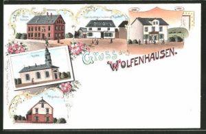 Lithographie Wolfenhausen, Neue Schule, Kirche und Handlung von Ludwig Raab