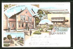 Lithographie Eckwarden, Dorfstrasse mit Schule u. Kirche, Gasthof von H. Onken, Anlegebrücke und Badehalle