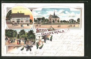 Lithographie Grunewald, Ortspartie mit Kirche, Schul- und Pfarrhaus, Gasthaus von Witwe Enkler, Gartenanlagen