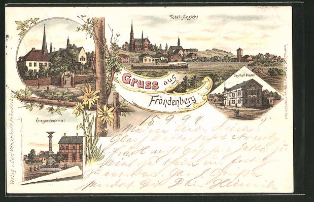 Lithographie Fröndenberg, Totalansicht, Gasthof Pieper und Blick auf das Kriegerdenkmal