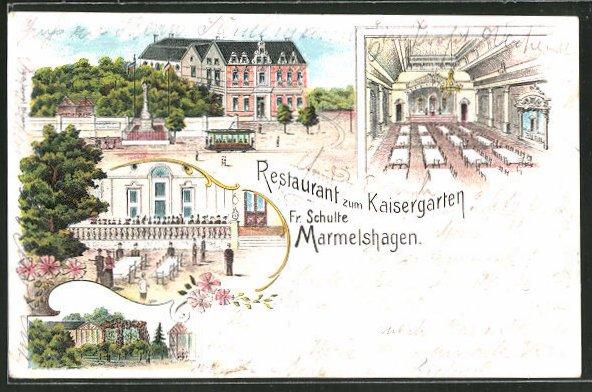 Lithographie Marmelshagen Restaurant Zum Kaisergarten Fr Schulte