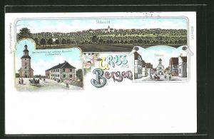 Lithographie Bergen, Totalansicht, Gasthaus zur schönen Aussicht, Rathaus