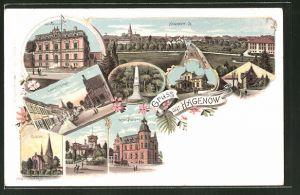 Lithographie Hagenow, Totalansicht, Amtsgericht, Kirche, Kaiserl. Postamt