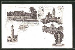 Lithographie Bad Homburg, Weisser Turm, Kaiser Wilhelm-Bad, Kaiser Friedrich-Denkmal, Lawn-Tennis-Platz