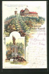 Lithographie Düsseldorf-Grafenberg, 39er Denkmal, Gasthaus Haardt