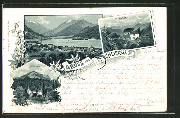 Lithographie Schliersee, Birkenstein, Totalansicht, Wendelstein