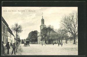 AK Wendisch Buchholz, Marktplatz mit Kirche