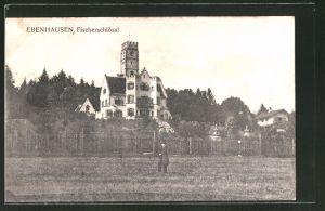 AK Ebenhausen, Fischerschlössl, Mann mit Hut