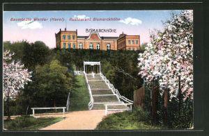 AK Werder / Havel, Restaurant Bismarckhöhe während der Baumblüte