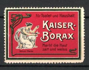 Reklamemarke Kaiser-Borax macht die Haut zart und weiss, Frau beim Händewaschen