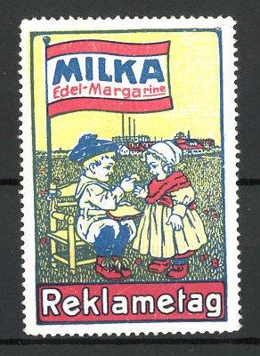 Reklamemarke Milka, die Edel-Margarine, zwei Kinder am Reklametag