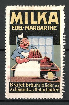Reklamemarke Milka, die Edel-Margarine, Frau mit Kuchen