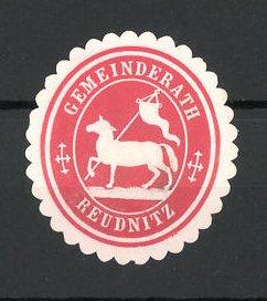 Präge-Reklamemarke Reudnitz, Marke vom Gemeinderat, Pferd mit Fahne