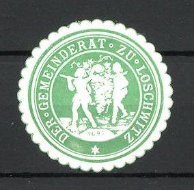 Präge-Reklamemarke Loschwitz, Marke vom Gemeinderat, zwei Mann mit Weintraube