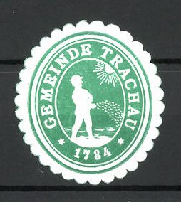 Präge-Reklamemarke Trachau, Marke der Gemeinde, Bauer beim Säen