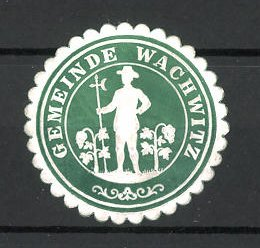 Präge-Reklamemarke Wachwitz, Marke der Gemeinde, Gärtner zwischen Pflanzen