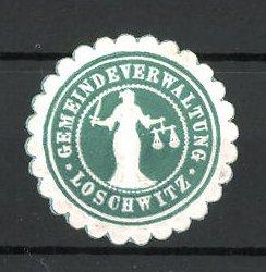 Präge-Reklamemarke Loschwitz, Marke der Gemeindeverwaltung, Frau mit Waage