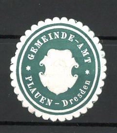 Präge-Reklamemarke Plauen-Dresden, Marke vom Gemeindeamt 0