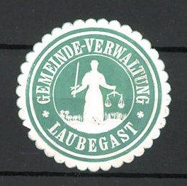 Präge-Reklamemarke Laubegast, Marke der Gemeindeverwaltung, Frau mit Waage 0