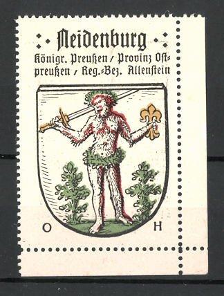 Reklamemarke Neidenburg in der Provinz Ostpreussen, Mann mit Schwert im Wappen