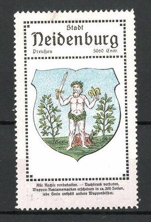 Reklamemarke Neidenburg, Wappen der Stadt in Ostpreussen 0