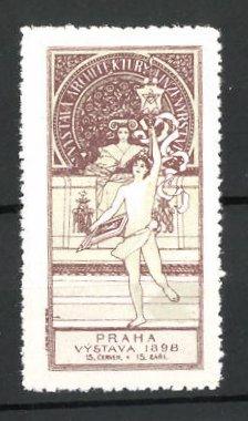 Reklamemarke Praha, Vystava 1898, Sportler mit Gymnastikband 0
