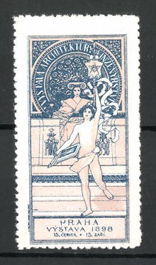Reklamemarke Praha, Vystava 1898, Sportler mit Gymnastikband