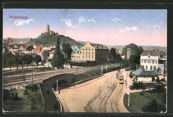 AK Godesberg, Strassenbahn an der Haltestelle 0